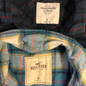 A&F and HOLLISTER flannel shirts M set of 2